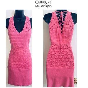 CATHERINE MALANDRINO Pink Crochet Dress M